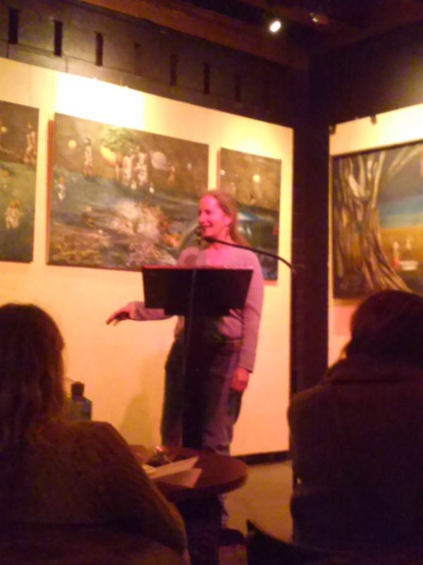 Joan Gregerson performing poetry at the Laughing Goat Coffeehouse Open Mic Poetry in Boulder, Colorado (March 31, 2014)